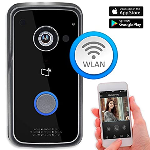 Goliath WLAN IP Video Türsprechanlage Türklingel Gegensprechanlage, Außenstation mit 1 Megapixel Kamera, RFID, POE, Drahtlose Verbindung, Tür-Öffner Funktion, Nachtsicht, 1 Familienhaus, Handy