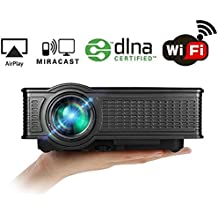 Wifi Projector, huiheng SD50 Plus Wireless Projector Mini LED Projector Full HD Multimedia Projector for Party Home Entertainment Video Games Support USB/AV/SD/VGA/HDMI Puerto negro SD50 Plus/BLACK