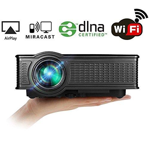 WiFi Projektor, HuiHeng SD50 Plus Wireless Projektor Mini LED Beamer Full HD Multimedia Projektor für Party Home Entertainment Video Spiele Unterstützung USB / AV / SD / VGA / HDMI Port