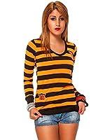 24brands Damen Pullover Pulli gestreift V Ausschnitt - 2141
