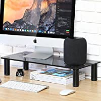 FITUEYES Black Computer TV Riser Stand with Adjustable Leg fit 2 Monitors, Desk Organizer for Home Office DT106002GT