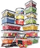 Set di contenitori per alimenti - contenitori ermetici in plastica con coperchio a scatto facile (confezione da 16) - contenitori a prova di perdite per cucina e dispensa - senza BPA