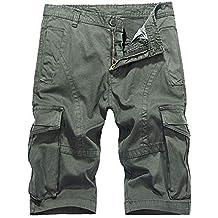 Hombres Pantalones Cortos Color Sólido Cremallera Camping Multi-Bolsillo Shorts