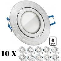 10er IP44 LED Einbaustrahler Set Aluminium natur mit LED GU5.3 / MR16 Markenstrahler von LEDANDO - 5W - warmweiss - 110° Abstrahlwinkel - Feuchtraum / Badezimmer - 35W Ersatz - A+ - LED Spot 5 Watt - Spritzwasserschutz
