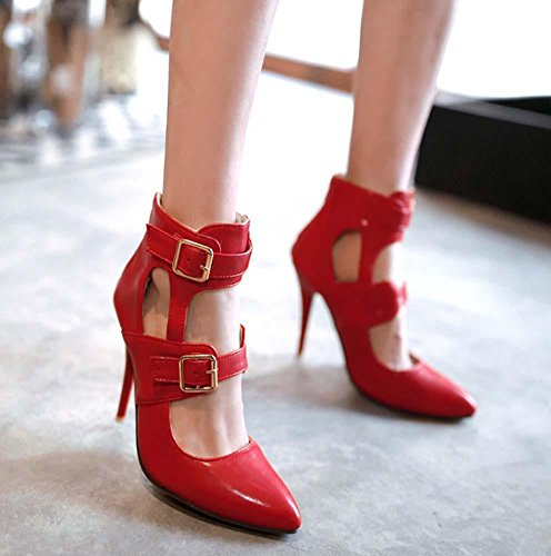 NobS Belt Buckle scarpe dei tacchi alti a punta pompe Large Size 40-43 SCARPE DONNA Red