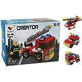 Genießen Spielzeug Modelle Feuerwehrfahrzeug Polizeiwagen Hubschrauber 3 in 1 Lernspielzeug Bausteine Kunststoff für Kinder ab 6 Jahren