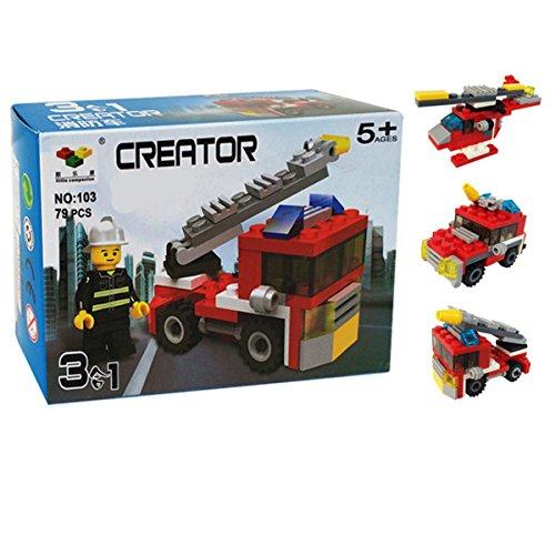Genießen Spielzeug Modelle Feuerwehrfahrzeug Polizeiwagen Hubschrauber 3 in 1 Lernspielzeug Bausteine Kunststoff für Kinder ab 6 (Für Männer Eis Und Kostüme Feuer)