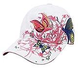 Belsen Mädchen Schmetterlings-Stickerei- Vintage Baseball Cap Snapback Trucker Hat (weiß)