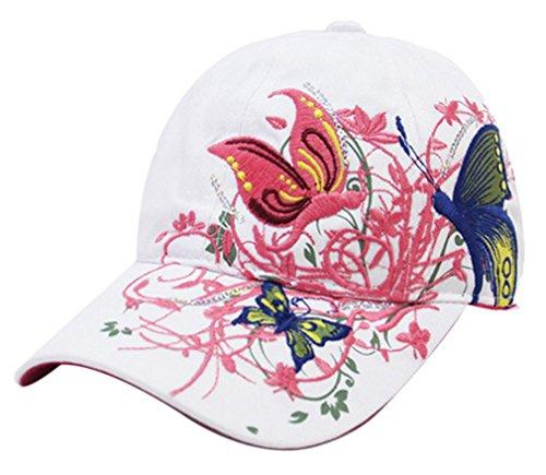 THENICE Schmetterlings-Stickerei- Vintage Baseball Cap Snapback Trucker Hat (weiß)