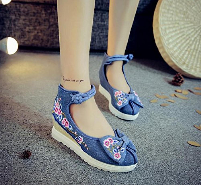 Chnuo scarpe ricamate ricamate ricamate donna Ballerine Scarpe biancheria suola del tendine stile etnico aumento scarpe femminili... | Alta Qualità  52f41b