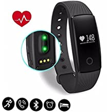 Lymbit Pulsera Actividad Inteligente Monitor de Actividad y Ritmo cardíaco Bluetooth Pulsera Inteligente Deporte Actividad Tracker con contador de calorías/monitor de sueño/contador de pasos/reloj,Compatible con iOS, Android Smartphone