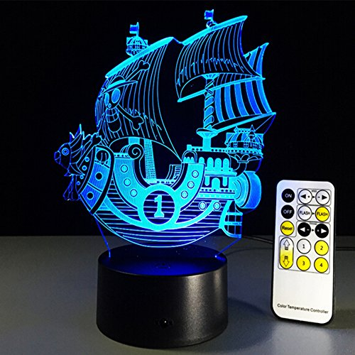 Pirate Ship 3D Optical Illusion Desk Lamp 7 Colors Change Touch Button And Remote USB Nightlight Produces Unique Visualization Lighting Effects Art Sculpture Light