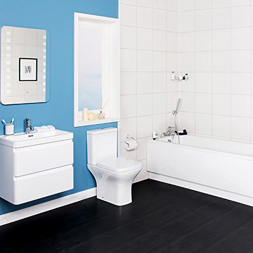 Bathroom Suite 1700mm Bath 600 Wall Hung Vanity Basin Sink Unit Toilet