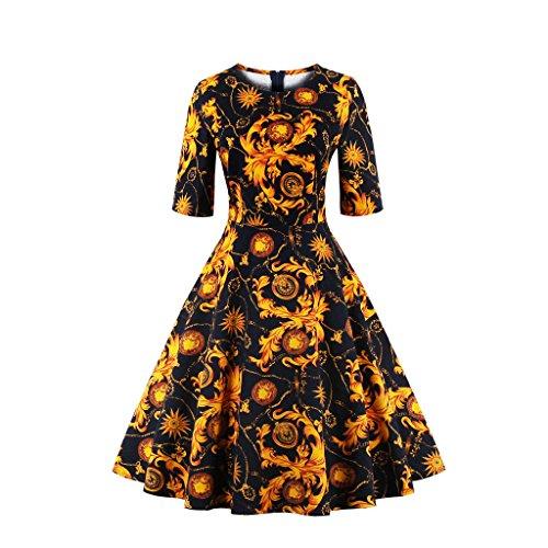 VKStar® Retro 50er Herbstkleid/Cocktailkleid mit 3/4 Ärmeln Ballkleid Blumenstoffdruck Rockabilly Swing Kleid Schwarz