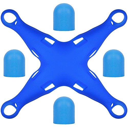Preisvergleich Produktbild Funda Protectora Fuselaje Silicona para DJI Phantom 3 con 4 tapones motor paquete,  FineGood Drone Cuerpo Soft Wrap Protector de protector motor para Phantom 3 Standard / Advance / Pro - Azul