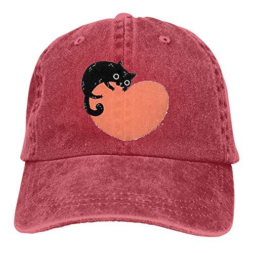 Wfispiy Schwarze Karikatur-Katze, die enormen 2019 Caps Baseballmütze-Sport-Hut beißt