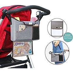 Organizador para Cochecito YOOFAN Organizador y Almacenamiento para Buggy Bolsa Extraíble con Cremallera para Pañales de Bebé, 2 Posavasos, Gran Espacio de Almacenamiento para iPhone, Juguetes y Accesorios