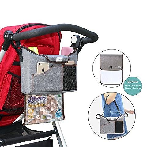 Kinderwagen Organizer, YOOFAN Kinderwagen Buggy Aufbewahrungstasche mit abnehmbarer Baby Wickelunterlage und Reißverschlusstasche, 2 Flaschenhaltern viel Stauraum für iPhone, Spielzeug und Accesoires