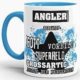 Berufe-Tasse Bedeutung Eines Angler Innen & Henkel Hellblau/Job/Tasse mit Spruch/Kollegen/Arbeit/Witzig/Mug/Cup/Geschenk-Idee/Beste Qualität - 25 Jahre Erfahrung