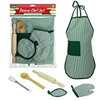 Festiday 6pcs Kids Cooking And Baking Set Kitchen Costume Pretend Role Play Kit Apron Children Kid Toy Lovely Funny Toy Kids Gift Education Toy for Boy and Girls