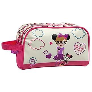Disney Minnie Fan Neceser Doble Compartimento, Color Blanco, 4.99 Litros