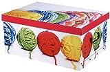 Aufbewahrungsbox Box Ordnungsbox Pappe Karton Deko-box mit Deckel und Hand-griff 37x31x16 cm modern verspielt bunt Wolle gelb rot grün blau weiß