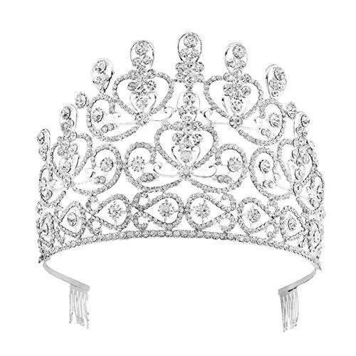 Santfe cristal Tiara de novia boda joyas accesorios para el pelo Prom Party (plata)