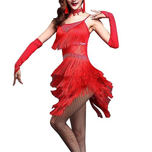 LNNUKc Blumenspitze Latin Dance Kleid Outfit Perlen Flapper Kleid Rumba Tango Stage Performance Dance Kostüme Kleid, Rock (Farbe : Rot, Größe : L) (Red Flapper Kleid Kostüm)