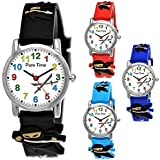 Pure Time Kinder-Uhr Mädchen-Uhr für Kinder Jungen-Uhr Silikon-Kautschuk Armband-Uhr Uhr mit 3D Ninja Samurai Waffen Motiv Ninjauhr Lern-Uhr Schul-Uhr Sport-Uhr Schwarz Weiß (Schwarz)