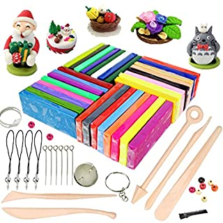Polymer Clay, 32 Colours Oven Bake Polymer Clay, iFergoo DIY Modelling Clay Kit with 5pcs Modeling Tools, Tutorials and Accessories, 1.73lb