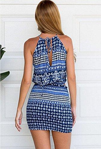 Europa und die Vereinigten Staaten Hei?e Mode Druck H?ngenden Hals Ausgesetzt Bart Halfter Kleid Seite Taille Linger Tasche Hüft Kleid Blau