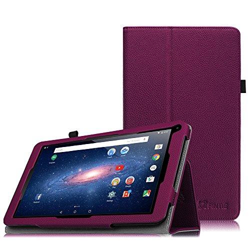 Fintie Odys Lux 10 Hülle Case - Slim Fit Folio Kunstleder Schutzhülle Cover Tasche mit Ständerfunktion und Stylus-Halterung für Odys Lux 10 25,7 cm (10,1 Zoll) Tablet-PC, Lila