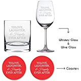 YaYa Cafe Wedding Anniversary Gifts For Couple Whiskey Wine Glass Combo - Engraved Love Laughter Happily Ever After Set Of 4 With Coasters|Husband Wife