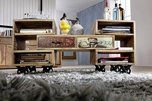 Table basse à roulette 90x45cm - Bois massif de manguier laqué - Imprimé multicolore - Style Urbain - DETROIT #17