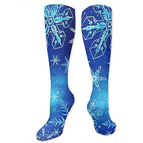 PPPPPRussell Socks Kompressionssocken für Frauen, Männer - Bester Strumpf für Reisen, Mutterschaft, Laufen, Sport, Krampfadern - Christmas Snowflake Blue