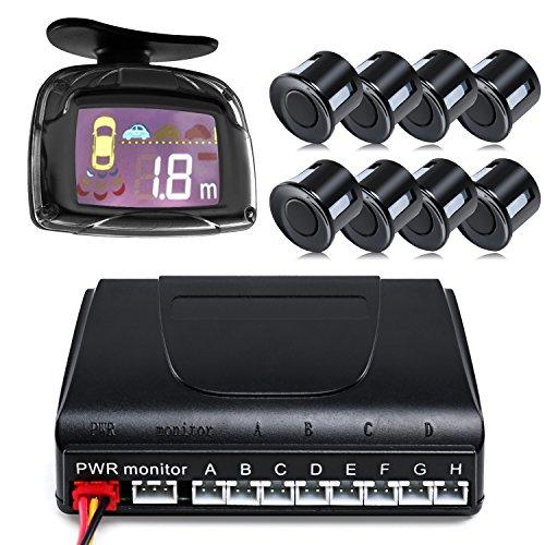 Cimiva Rückfahrhilfe Einparkhilfe Mit, Und einem akustischen Signalgeber inklusiv 8 Sensoren in schwarz