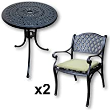 Lazy Susan - Mesa bistro 60 cm EVE y 2 sillas de jardín - Conjunto de
