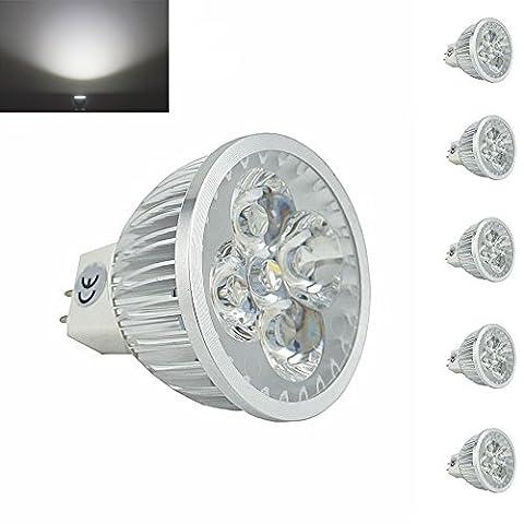 bonlux Pack de 5LED MR16à lumière 12V Angle de faisceau 60° spot LED GU5.3LED lumière du jour 6000K 50W équivalent pour rail d'éclairage encastrable Paysage 4.00 wattsW, 12.00 voltsV