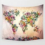 Weltkarte Wandteppich, orientalische Tüche Rose Wandtuch mit psychedelic Stil, mehrfarbige Tapisserie Wandbehang Zimmer Wand Dekor aus Baumwolle (203 x 153 cm, Blume Landkarte)