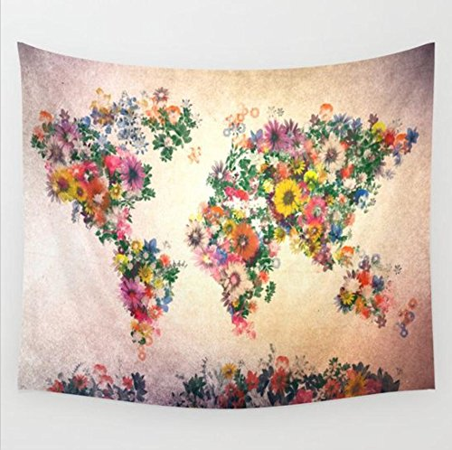 h, orientalische Tüche Rose Wandtuch mit psychedelic Stil, mehrfarbige Tapisserie Wandbehang Zimmer Wand Dekor aus Baumwolle (203 x 153 cm, Blume Landkarte) ()