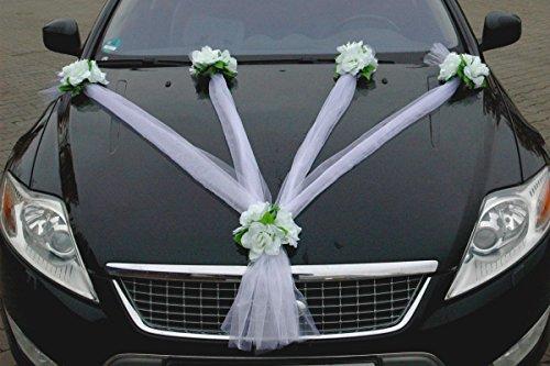 Organza Maxi Auto Schmuck Braut Paar Rose Deko Dekoration Hochzeit