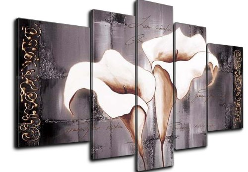 Wieco Art - Brown Lily Fashion Flower 100% Hand-painted Modern Canvas Wall Art Wood Framed on the Back Wall Decor Floral Oil Paintings on Canvas 5pcs/set III