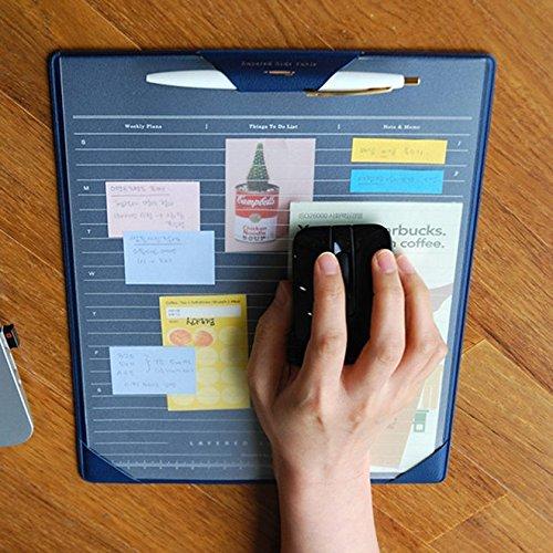 Multifunktions-Mauspad für Computer und Laptop, langlebig Office Mauspad/Mauspad/Tisch Organizer/Maus Displayschutzfolie/Tastatur Pad, Gaming Matte, Zeichenblock, Desktop Schutzfolie und Schreibblock mit Karte-Taschen für Desktop/Laptop, Maus Pad Cover mit 2transparent Blatt für gleiten, Memo & perfekte Schreiben 12,6