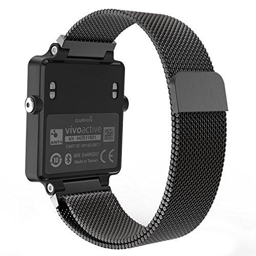 MoKo Milanaise Armband für Garmin Vivoactive / Acetate, Replacement Strap Watchband Uhrband Erstatzband mit Einzigartige Magnet-Verschluss für Garmin Acetate Sports GPS-Smartwatch, Schwarz