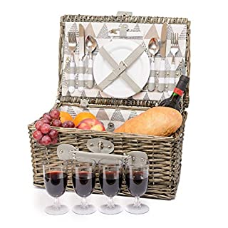 Miyagi Tea Europe 4 Person Traditional Vintage British Picnic Wicker Hamper Willow Basket - Come with Ceramic Plates, Plastic Glasses, Cutlery, Bottle Opener