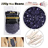 Pearl Wax Hair Removal Kit - Brazilian Hard Wax Beans Depilatory Solid Hot Film Waxing Pellets for Body Bikini Hair Removal (Lavender)