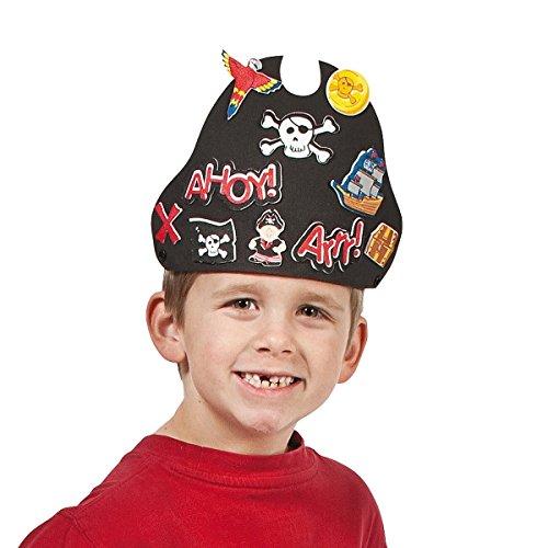 Preisvergleich Produktbild 12 x Piraten Hut Kappe Mütze aus Moosgummi zum Basteln Bastelset Party Piratenparty Geburtstag Fasching