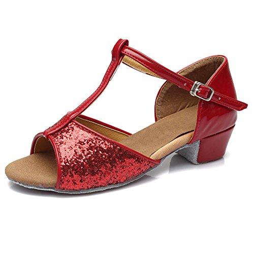 HIPPOSEUS Damen & Mädchen Sandalen Ausgestelltes Tanzschuhe/Ballsaal Standard Pailletten Latein Dance Schuhe,DE205,Rot,EU (Pailletten Red Schuhe Kind)