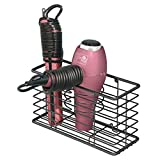 mDesign porte sèche-cheveux en métal - panier de rangement pour salle de bain avec 3 compartiments - module de rangement multifonction pour brosses, fer à boucler, lisseur, etc. - noir