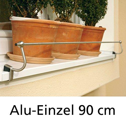 Blumenkasten-Halterung 90 cm, Edelstahl f. Alu-Fensterbänke, Montage ohne Bohren